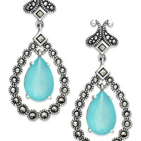 Genevieve & Grace Sterling Silver Apatite Glass and Marcasite Teardrop Earrings