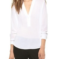 Trapunto Placket Long Sleeve Blouse