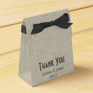 Linen Black Bow Thank You Personalized Favor Box