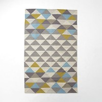 Sarah Campbell Mosaic Triangles Wool Dhurrie - Wave