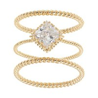 Gold Tone Simulated Crystal Twist Ring Set