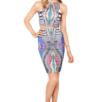 3 Dimensional Crop Top and Midi Skirt Set in Multi