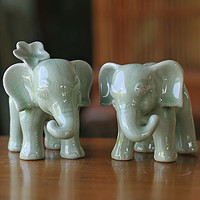 "Novica ""Noble Elephants"" Celadon Ceramic Figurine Set 