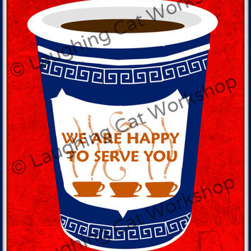 Coffee art print poster NY NYC New York art teen wall art retro kitchen wall decor coffee lover gift Starbucks art Bronx Brooklyn Queens art