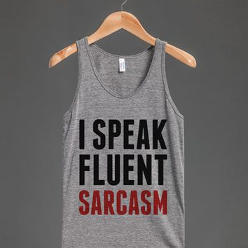I SPEAK FLUENT SARCASM TANK TOP RED BLK ID7231452