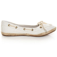 Bamboo Singing 01 White Canvas Boat Shoe Skimmer Flats - $25.00