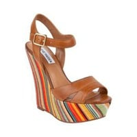 WIINNER COGNAC LEATHER women's sandal high wedge - Steve Madden