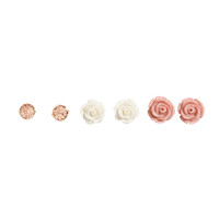 H&M - 3 Pairs Earrings - Pink - Ladies