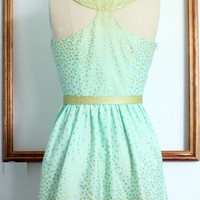 Audrey hepburn breakfast at tiffany's mint or blush and gold polka dot dress vintage inspired retro dress  - TIFFANY style