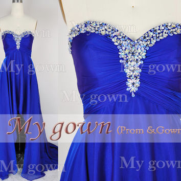 2014 HIgh Low Beads Crystal Royal Blue Dress,Wedding Dress,Cocktail Dress,Gown,Evening dress,Prom Dresses,formal dress,homecoming dress