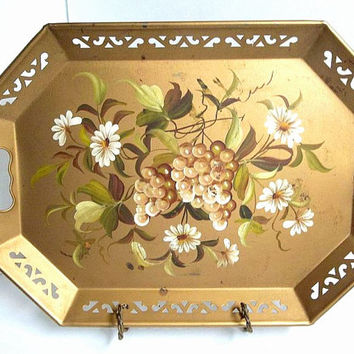 Vintage large gold tole tray Pilgrim Art 1950s tole ware toleware tray hand painted floral metal tray reticulated edges handles