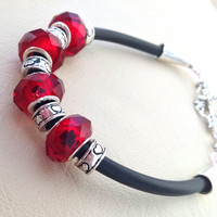 Rubber cord bracelet, red crystal beads
