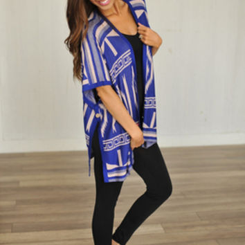 TRIBAL OPEN SWEATER- BLUE