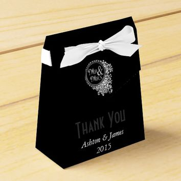 Black Mr & Mrs Thank You Personalized Favor Box