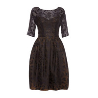 1950's Sheer Black Dress With Leaf Print and Gold Underlay