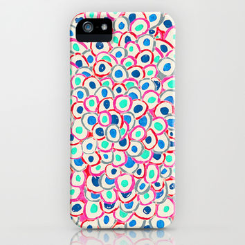Circle after Circle - cream, red, aqua, blue doodle pattern iPhone & iPod Case by TigaTiga Artworks