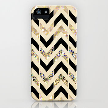 Black & Gold Glitter Herringbone Chevron on Nude Cream iPhone & iPod Case by Tangerine-Tane