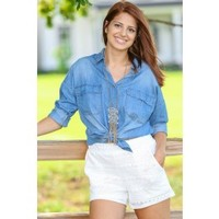 Aspen Hideaway Chambray Blouse-Medium Wash