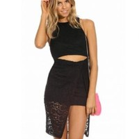 Sleeveless Lace with Knee-Length Slit Skirt