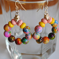 Wire Beaded Hoop Earrings Multi Colored Acrylic by KissMeKrafty