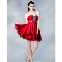 2014 Prom Dresses - Red Chiffon Sweetheart Short Prom Dress