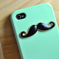 Black Mustache Light Green Iphone 4 Case by sweethearteverybody