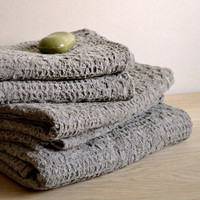 ORGANIC Linen Towel Massage Undyed Rustic Natural Pre-washed Eco Friend Wafer Towel » Craftori