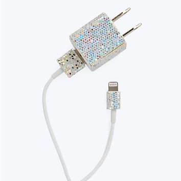 iPhone 5/5C/5S Charge Combo Kit in Silver Confetti