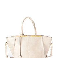 Faux Leather Trapeze Tote
