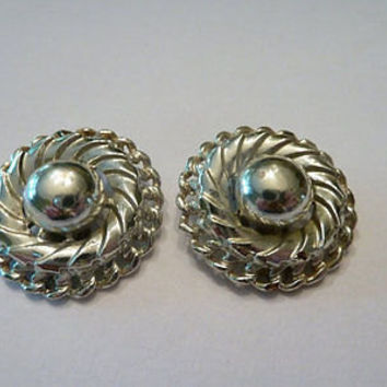 Vintage Silver Coro Disc Earrings Circle Costume Jewelry 1950s 1960s