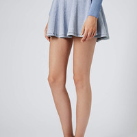 Petite Denim Look Flippy Skirt