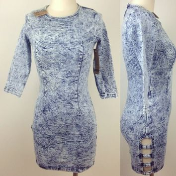 Blue Acid Wash Mini Denim Dress with Thigh Side Cut Outs Sizes S-XL