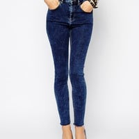 ASOS Ridley High Waist Ultra Skinny Ankle Grazer Jeans in Bligh Acid Wash with Raw Hem at asos.com
