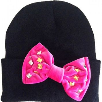 """Studded Out"" Bow Beanie by Marialia (Black)"