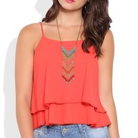 Crop Tank Top with Ruffle Hem and Cage Back