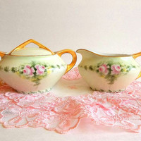 Antique Paul Muller EPIAG 1920's cream & sugar set, pink roses hand painted gold trim porcelain Cecho-Slovakia Beautiful for a Tea Party