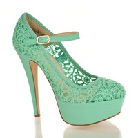 Almond Toe Lace Mary Jane Platform Stiletto Heel Dress Sandals