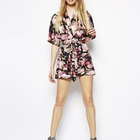 ASOS PETITE Exclusive Floral Print Kimono Playsuit at asos.com
