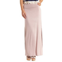High-Waisted Double Slit Maxi Skirt by Charlotte Russe - Sphinx