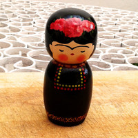 Frida Kahlo Kokeshi Doll. Handmade and handpainted wooden doll.