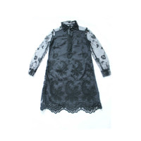 Vintage black lace 1960s dress,size small