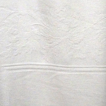 Vintage White Linen and Cotton Large Brocade Tablecloth - 60 x 94 Inches