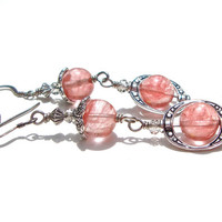 Ornate pink and silver earrings - dangly strawberry quartz, Victorian inspired round stone bead earrings by Sparkle City Jewelry