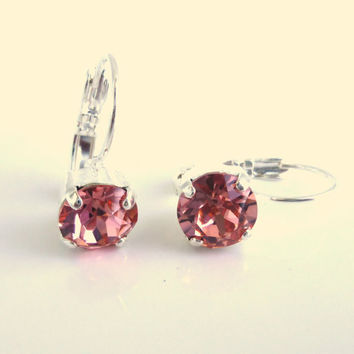 Swarovski crystal 8mm leverback earrings-  drops - rose peach - peach designer inspired crystal earrings, Siggy earrings