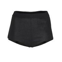 ISABEL BENENATO Sexy Short Black High-waist leather hot pants - Pants & Leggings