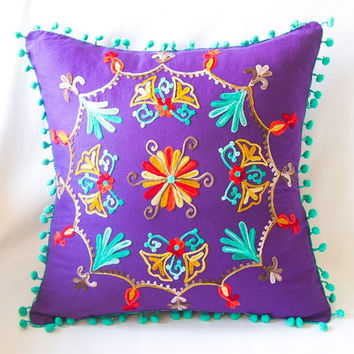 Purple Turkish Traditional Decorative Pillow, Bohemian Cushion Cover, Embroidered Pillow, Cotton Pillow Case