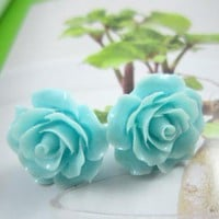 Blue Rose Bloom Earrings | christinepurr - Jewelry on ArtFire