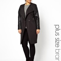Carmakoma Asymetric Quilted Leather Look Sleeve Coat at asos.com