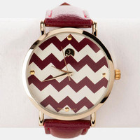 ZARIA CHEVRON WATCH IN BURGUNDY