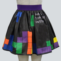 Retro Video Game Border Print Full Skirt